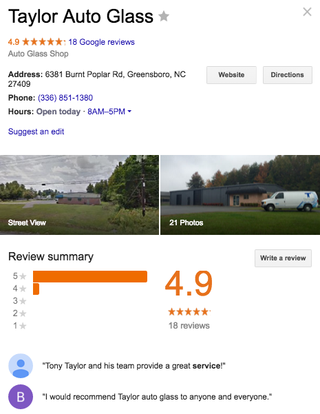 How To Choose The Perfect Mechanic or Auto Glass Repair Shop Google Screenshot