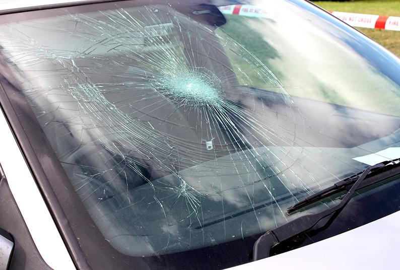 car maintenance A Broken Car Windscreen at an Accident Site