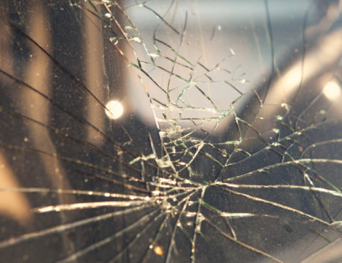 damaged windshield after a car accident.