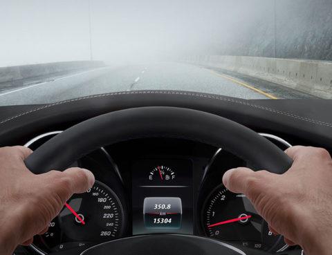 Car with clear a foggy windshield
