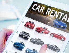 car rental website on a tablet